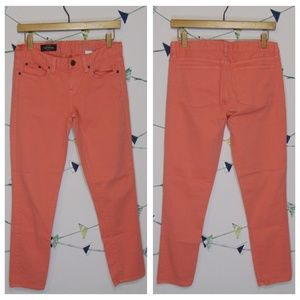 J. Crew Toothpick Ankle Jean Coral Twill Pants